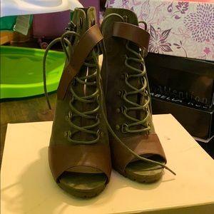 Shoe Dazzle Shoes - Lace Up Olive Heels